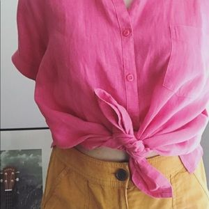 Vintage Lord & Taylor Hot Pink Button Up